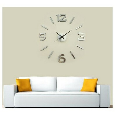 StarDeco Zegar ścienny srebrny, śr. 60 cm