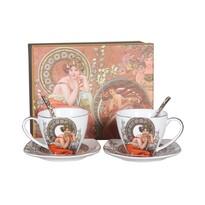 Set cadou căni din porțelan, cu farfurioară și linguriță, Alfons Mucha, 2 buc.