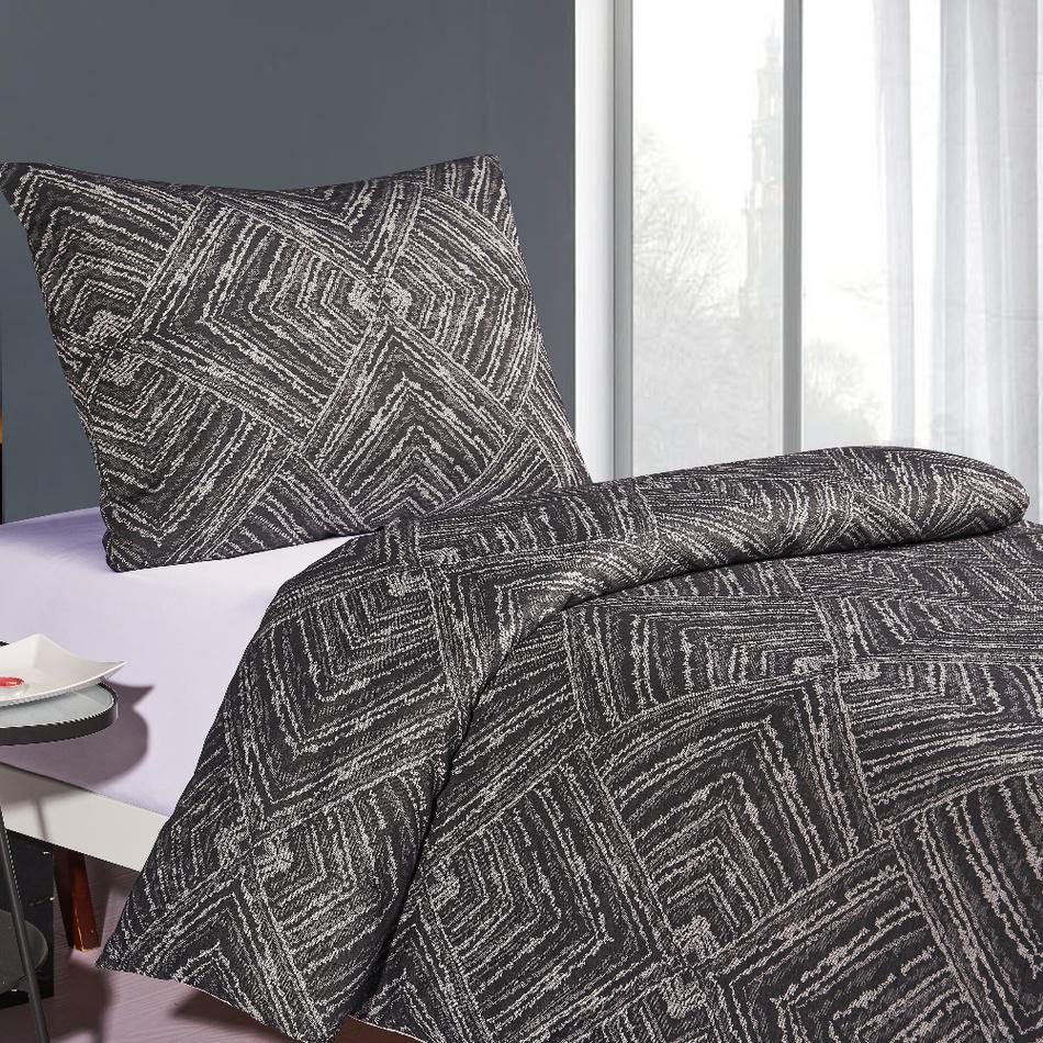 BO-MA Trading Saténové povlečení Brissa Geometrie, tmavě šedá, 140 x 200 cm, 70 x 90 cm