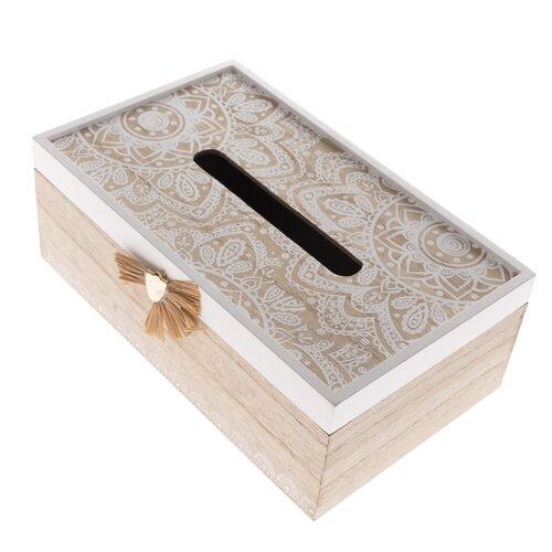 Cutie din lemn pentru batiste Mandala, 20 x 11,5 x 9 cm