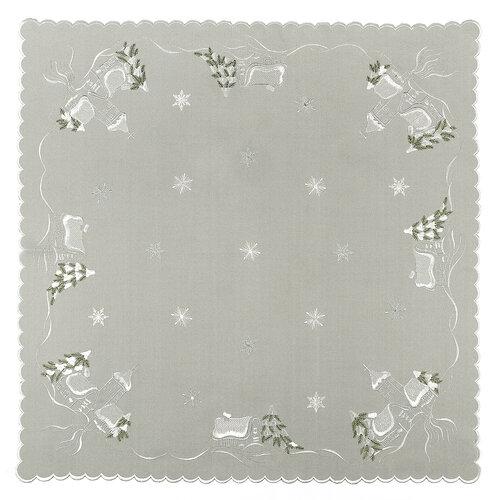 Vianočný obrus chalúpky sivá, 85 x 85 cm