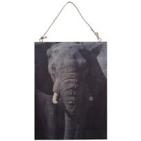 Elefánt fafestmény, 28,5 x 20,5 cm