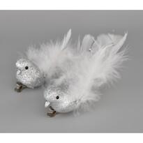 Bożonarodzeniowa dekoracja Ptaszki, srebrny, 2 szt.