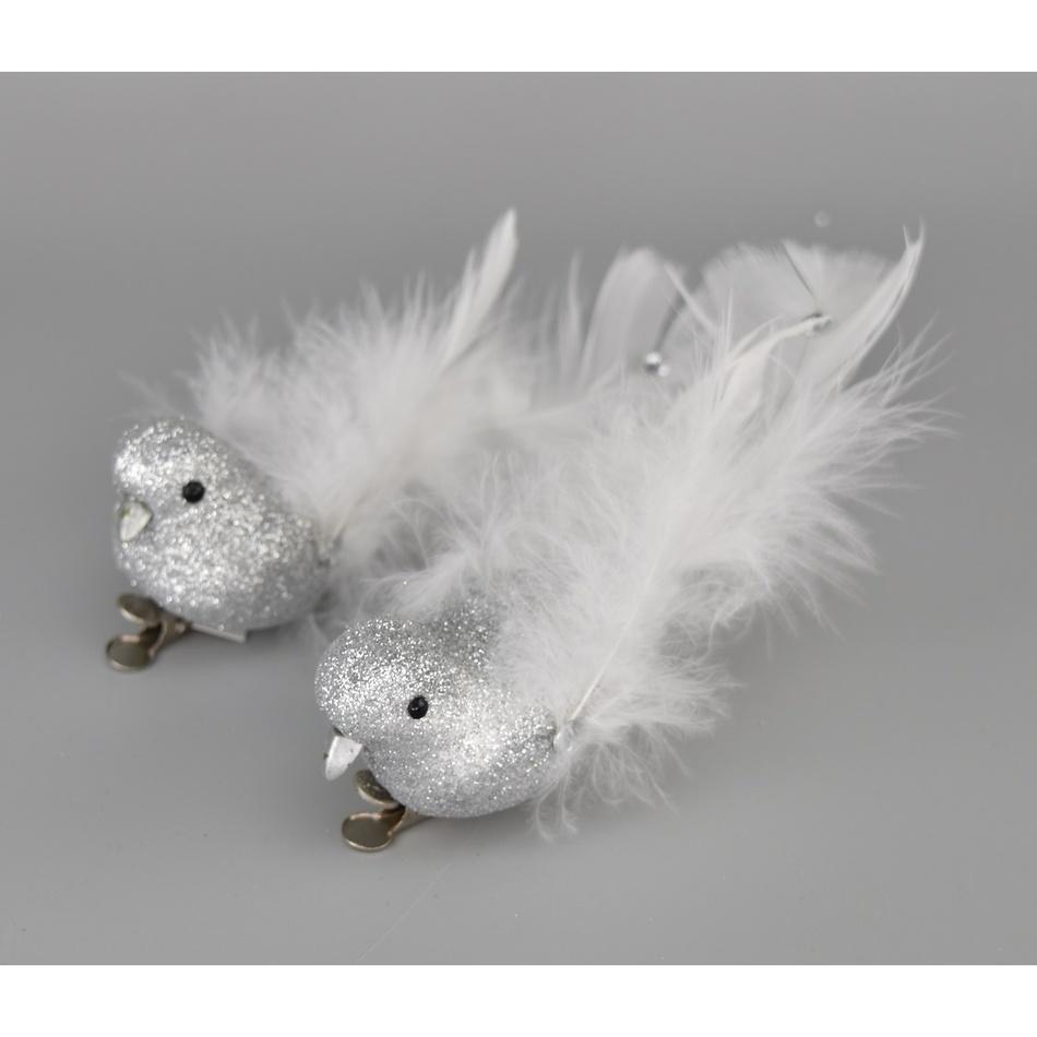 Vánoční dekorace Ptáčci stříbrná, 2 ks
