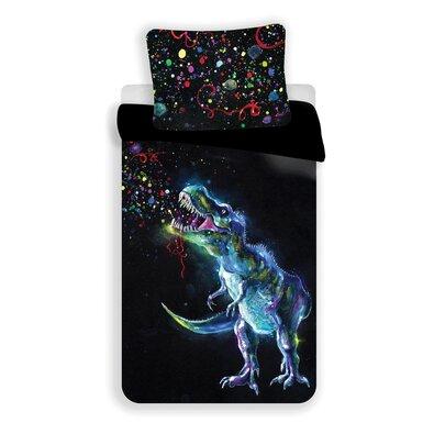 Jerry Fabrics Bavlnené obliečky Dinosaur Black, 140 x 200 cm, 70 x 90 cm