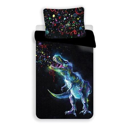 Jerry Fabrics Dinosaur Black pamut ágynemű, 140 x 200 cm, 70 x 90 cm