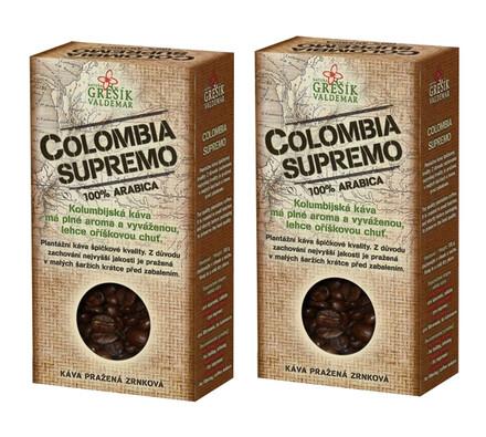 Colombia Supremo káva 2 x 100g, černá