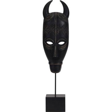 Mbenu dekorációs afrikai maszk, fekete, 46 cm