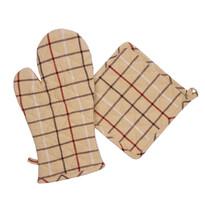 Rękawica kuchenna i podkładka beżowo-szary, 17 x x 33 cm, 20 x 20 cm, zestaw 2 szt.