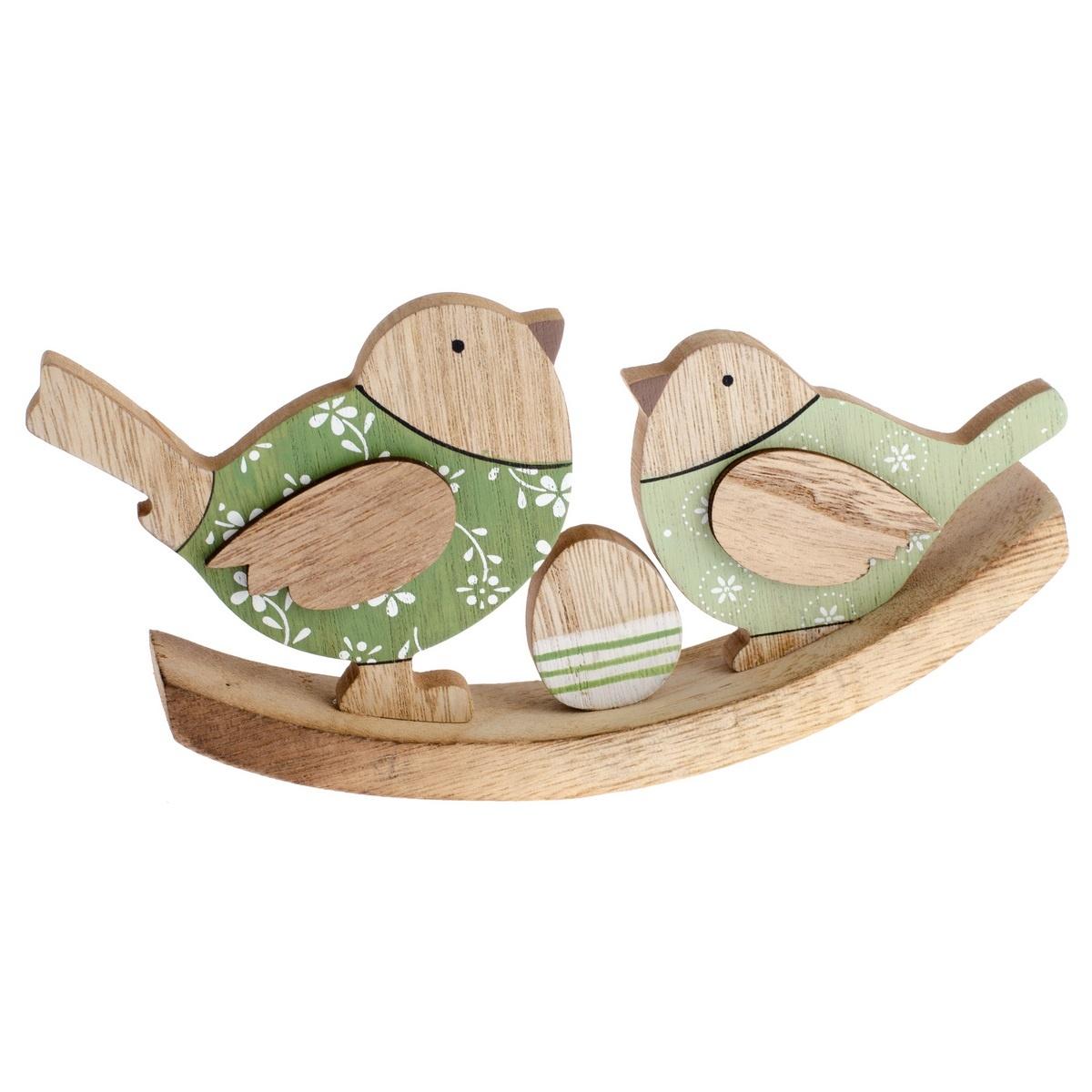 Dřevěná dekorace Ptačí rodinka, 20 cm