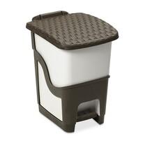 Coș de gunoi din ratan 18 l, alb și maro