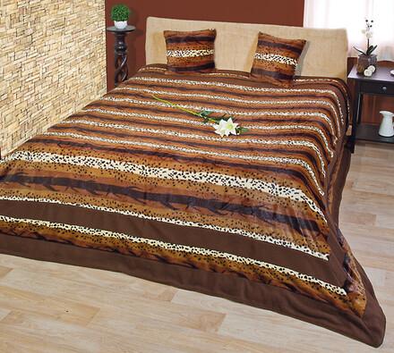 Luxusní přehoz na postel, hnědá, 220 x 240 cm, 40 x 40 cm