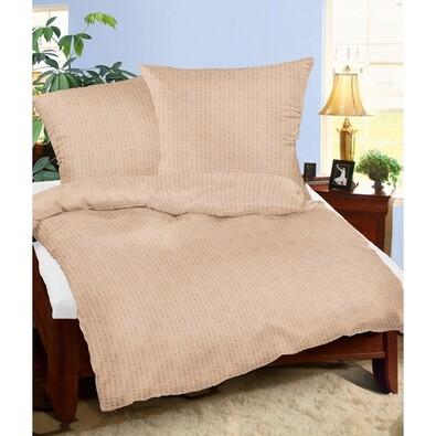 Lenjerie pat 1 pers. bej, creponată, 160 x 200 cm, 2 buc 70 x 80 cm