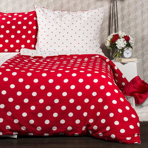 4Home Krepové povlečení Červený puntík, 140 x 200 cm, 70 x 90 cm