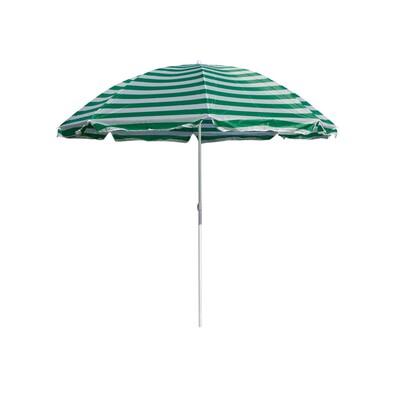 Happy Green Parasol plażowy zielone paski, 230 cm