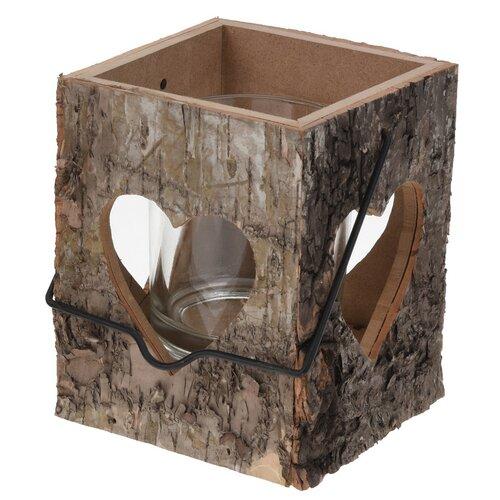 Suport lumânare din lemn cu  inimă decupată, 13 cm