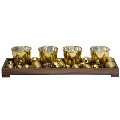 Stojan na čajové svíčky, zlatý, zlatá