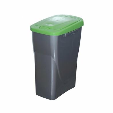 Szelektív hulladékgyűjtő kosár, 42 x 31 x 21 cm, zöld fedél, 15 l
