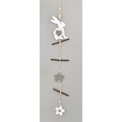 Drevená závesná dekorácia Zajačik, 50 cm