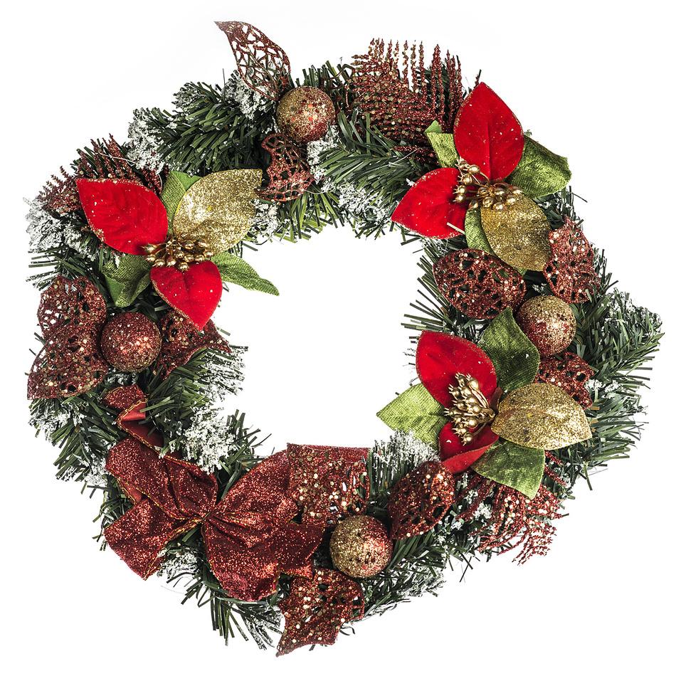 HTH Zdobený vánoční věnec pr. 30 cm červená