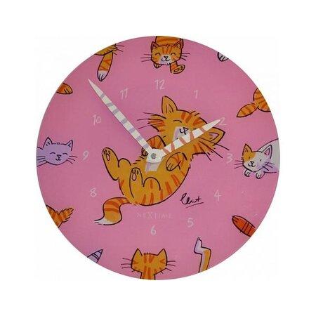 Nextime Tickle Tummy 8810 nástěnné hodiny, růžová