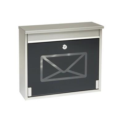 Poštovní nerezová schránka s tvrzeným sklem, černá