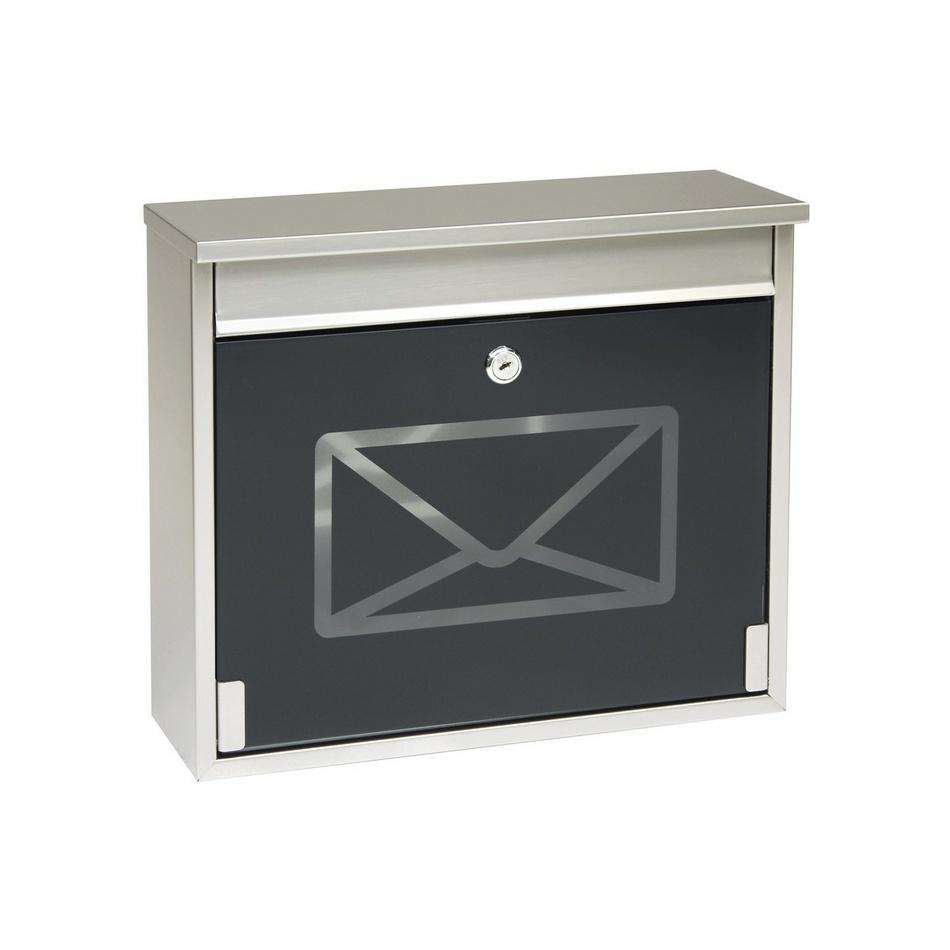 Richter Poštovní nerezová schránka s tvrzeným sklem, černá