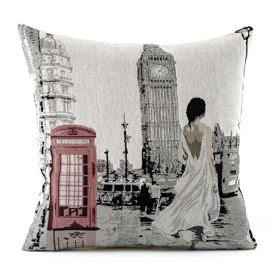 BO-MA Trading Obliečka na vankúšik Gobelín žena v Londýně, 45 x 45 cm