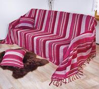Přehoz na postel s třásněmi, oranžová, 220 x 260 cm