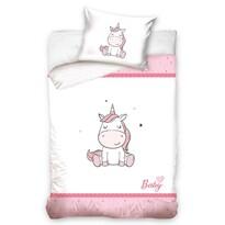 Lenjerie de pat copii, din bumbac, Unicorn,, 100 x 135 cm, 40 x 60 cm