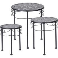 Komplet okrągłych stolików metalowych Loreta