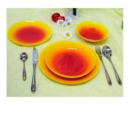 Jídelní sada, 19 ks, červená + žlutá, Luminarc