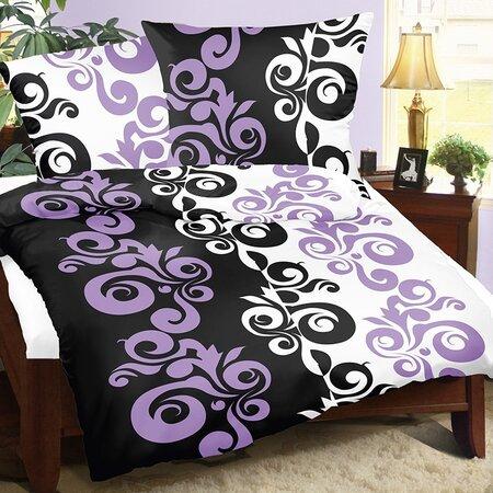 Saténové obliečky Lucie Retro fialová, 140 x 200 cm, 70 x 90 cm