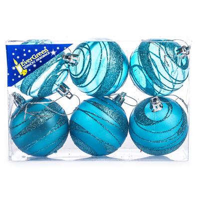 Vánoční koule s pruhy 6 ks, tyrkysová