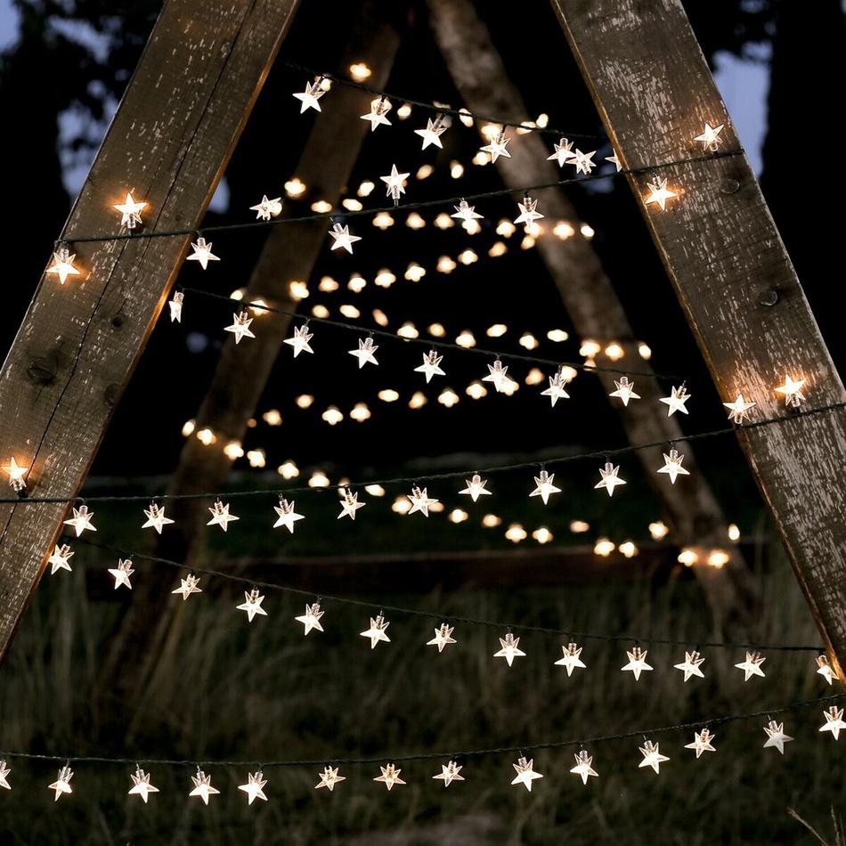 DecoKing Světelný vánoční řetěz Hvězdičky teplá bílá, 100 LED