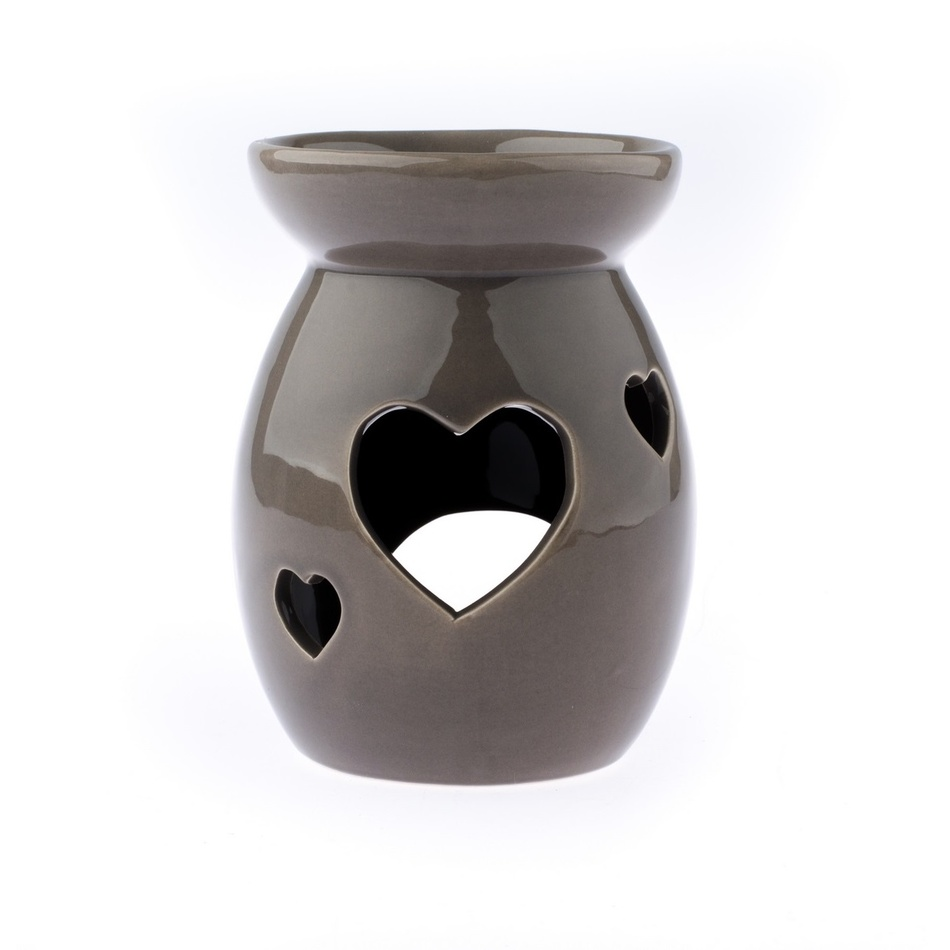 Keramická aromalampa Srdce, sivá