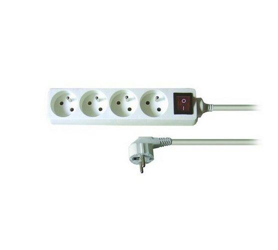Predlžovací prívod Solight s vypínačom, 4 zásuvky