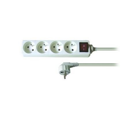 Solight Prodlužovací kabel s vypínačem 4 zásuvky  bílý