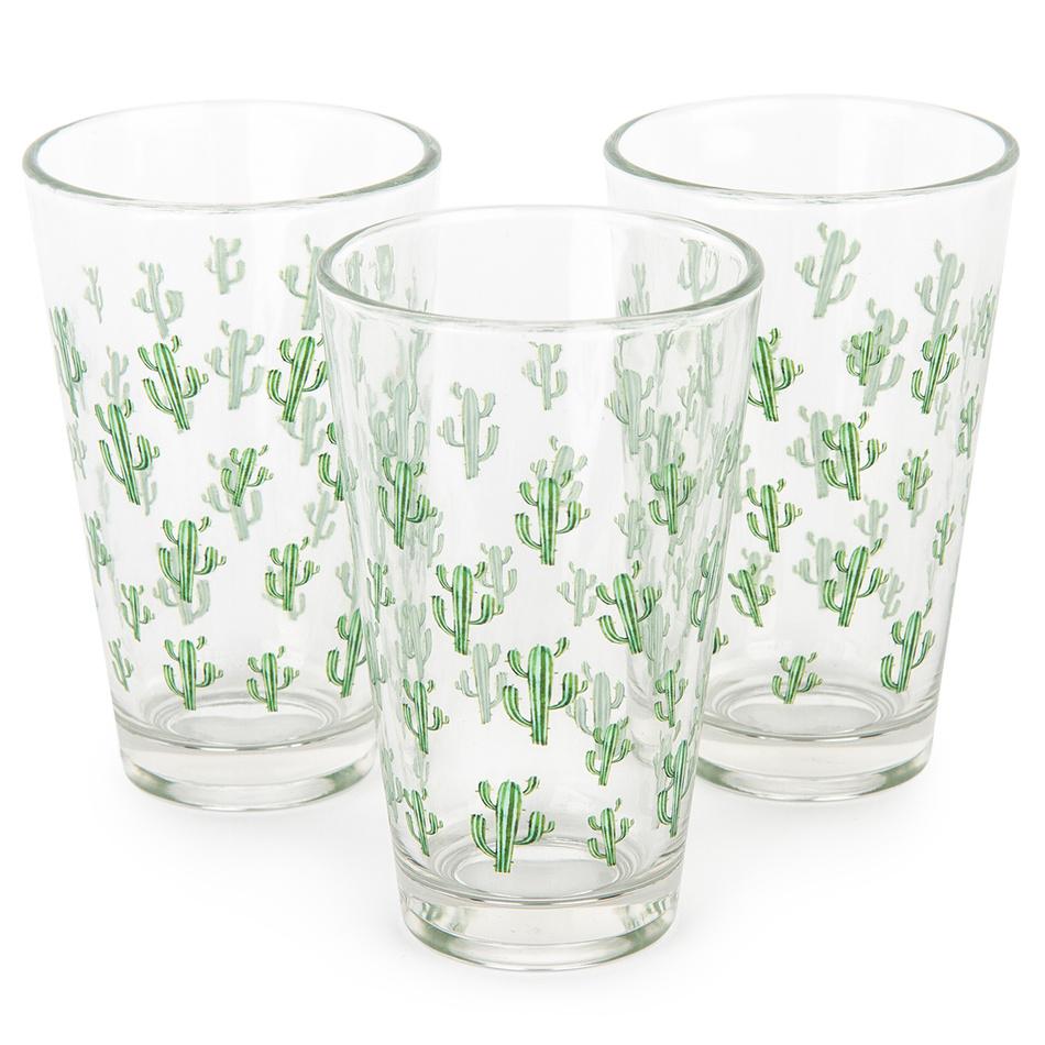 Koopman Sada sklenic Pouštní kaktus 300 ml, 3 ks