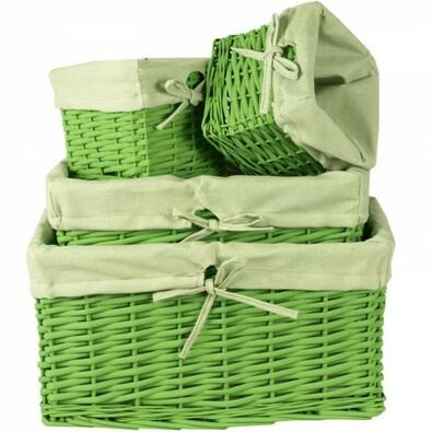 Proutěný košík, sada 4 ks, zelená, zelená