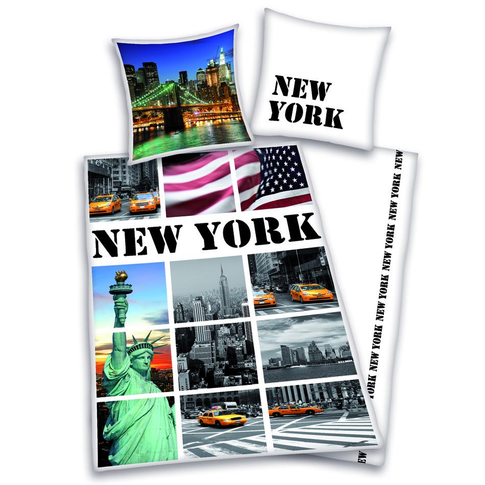 Herding Bavlněné povlečení New York collage, 140 x 200 cm, 70 x 90 cm