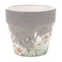 Keramický obal na kvetináč s jarnými kvetinami Foli, 17 cm