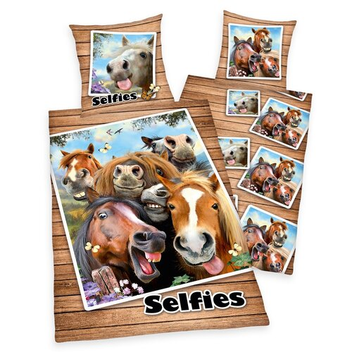 Farm Selfie pamut ágynemű, 140 x 200 cm, 70 x 90 cm