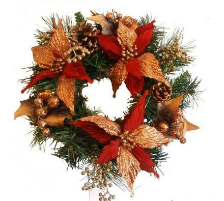 Luxusní vánoční věnec s vánoční hvězdou, 40 cm
