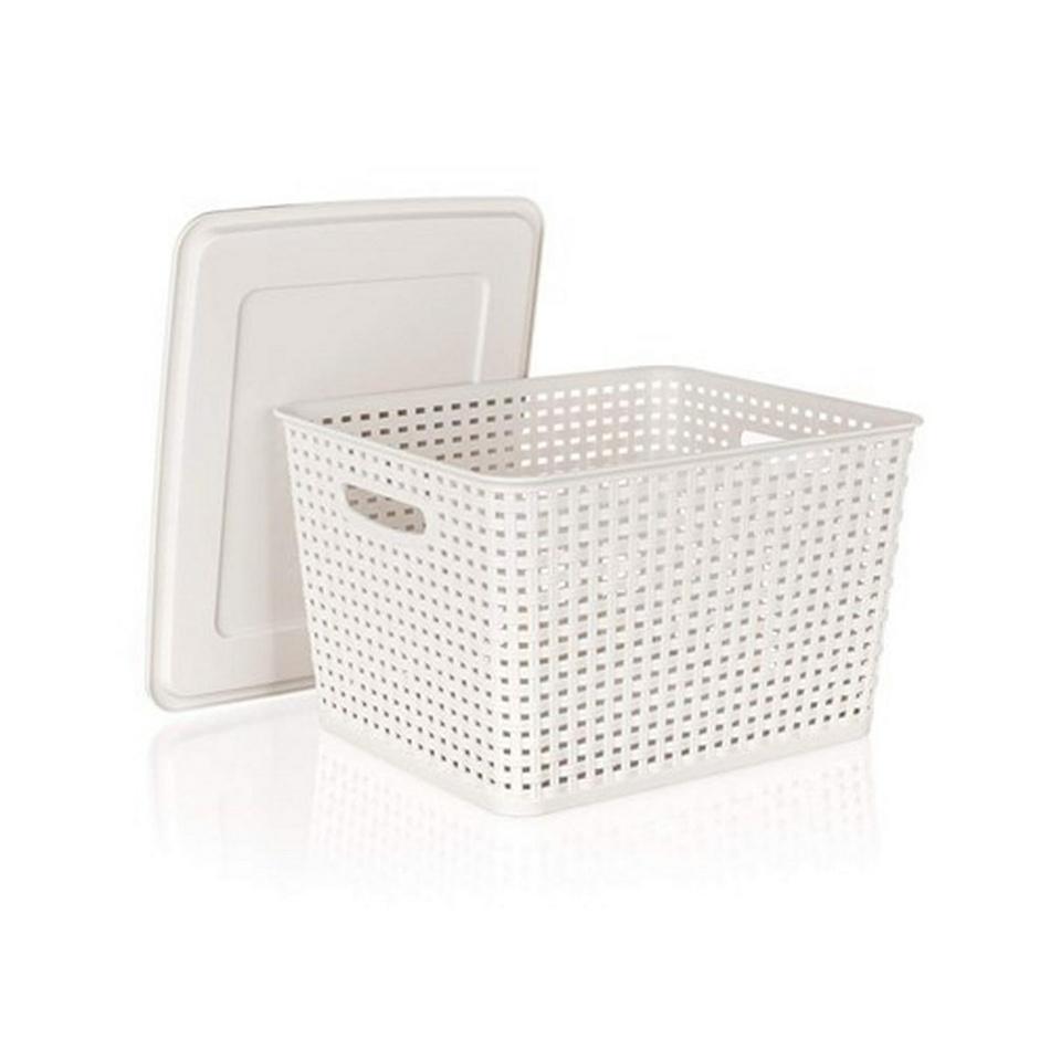 Banquet RATTAN úložný box s vekom 10 l krémová,