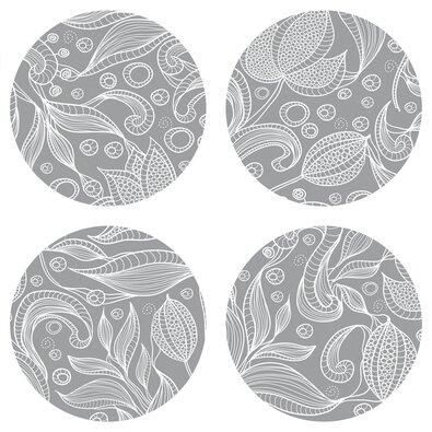 Podložka pod hrnček Leaves grey, okrúhla, pr. 10 cm, sada 4 ks