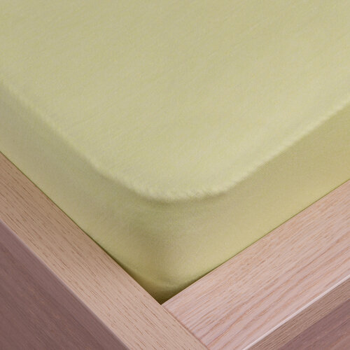 Cearșaf de pat jersey Klasik verde, 100 x 200 cm