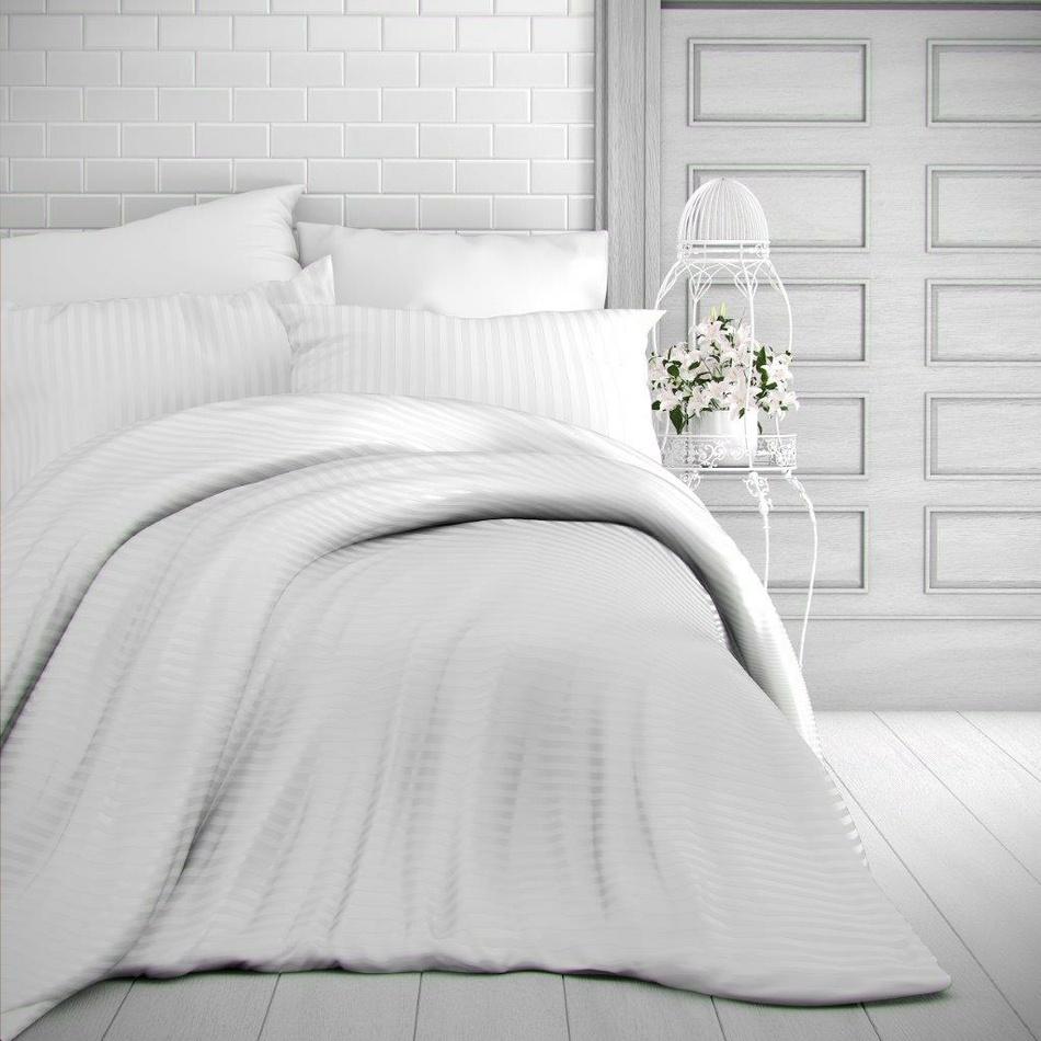 Kvalitex Saténové obliečky Stripe biela, 240 x 220 cm, 2 ks 70 x 90 cm