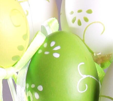 Velikonoční vajíčka na tyčce, zelená