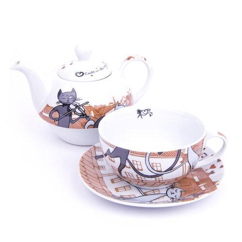 3-dielna čajová súprava Mačky v meste